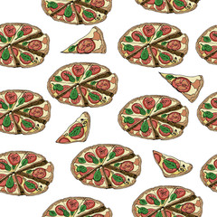 Seamless pattern with whole and slices of  pizza isolated on white background. Hand drawn ink  and colored sketch.