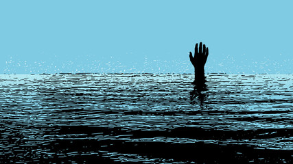 illustration of the hand of a person drowning in the sea. Popart in black and blue colors. Fototapete
