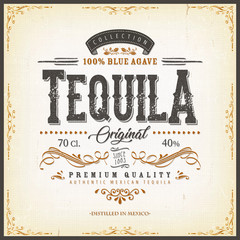 Vintage Mexican Tequila Label For Bottle/ Illustration of a vintage design elegant tequila label, with crafted lettering, specific blue agave product mentions, textures and hand drawn patterns