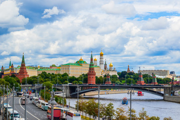 View of the Moscow River and the Moscow Kremlin with golden domes of cathedrals. Moscow, Russia.