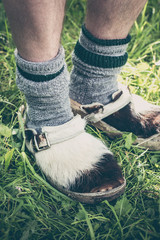Close up of traditional clogs made of cowhide