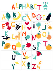English children's alphabet with cartoon pictures on the theme of fruit, vegetables, animals. Art can be used for books, printing, textbook.