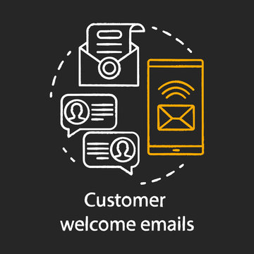 Customer welcome emails chalk concept icon. Greeting message idea. Email marketing. New subscriber. Emails sending. Communication, mass mailing. Vector isolated chalkboard illustration