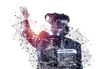 Young businessman exploring virtual world