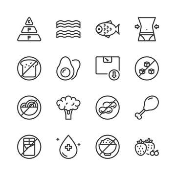 Ketogenic diet icon set.Vector illustration.