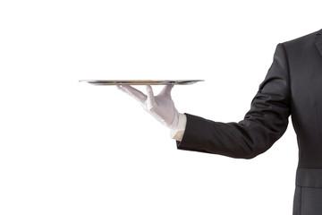 Fototapeta Waiter holding empty silver tray isolated on white background obraz