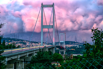 View of Bosphorus Bridge from different angle in morning
