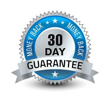Blue and silver color combined powerful 30 day money back guarantee badge/seal with ribbon.