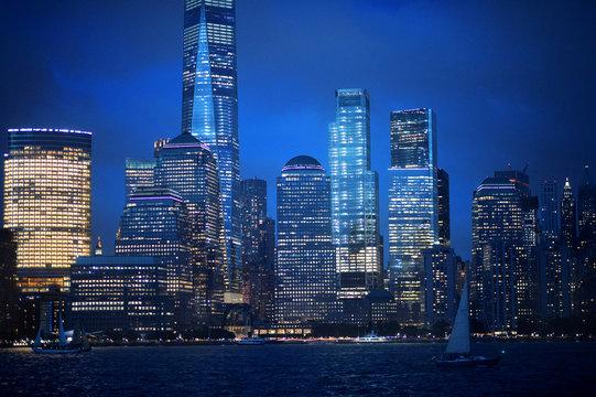 New York city skyline with illuminated buildings