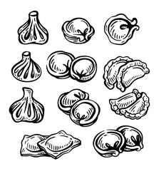 Hand drawn illustration of dumplings set