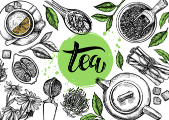 hand drawn pictures tea theme on white background