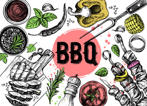 Barbecue grill hand drawn food set on white background