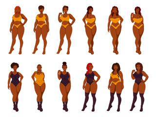 Beautiful plus size women in lingerie.