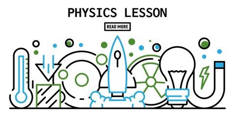 Physics lesson banner. Outline illustration of physics lesson vector banner for web design