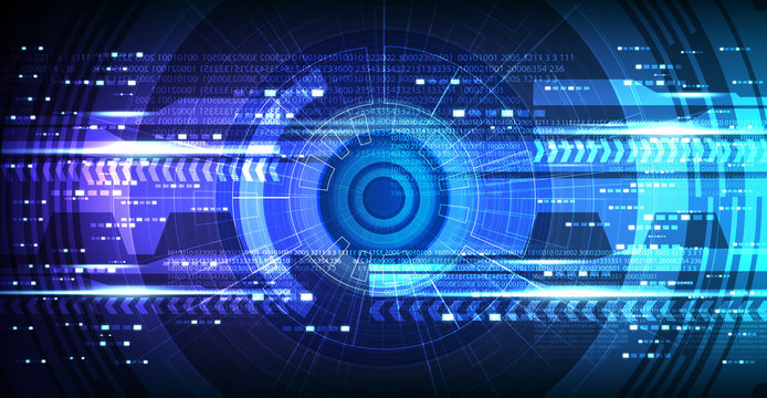 Camera Cyber Hi-tech Eye Technology Background,Camera Security and Robot Concept design,Vector Illustration.