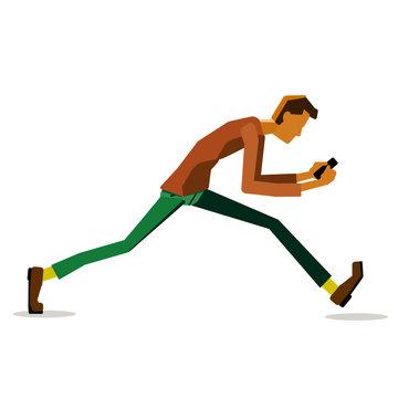 Distracted smartphone user, looking at phone &  walking