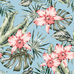 Tropical pink orchid flowers and palm leaves bouquets, blue background. Vector seamless pattern. Jungle foliage illustration. Exotic plants. Summer beach floral design. Paradise nature