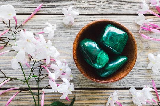 Teak Bowl of Malachite with Jasmine on White Washed Wood