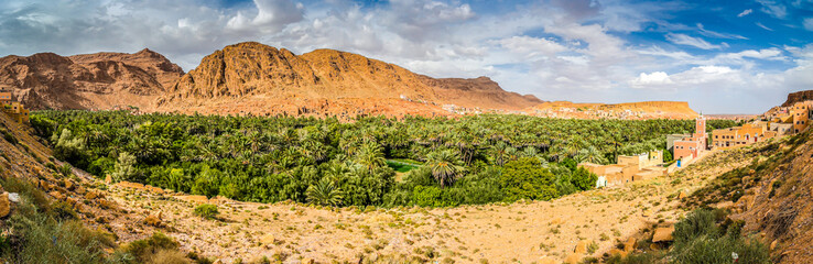 Panoramic view on Tinghir - Tinerhir city in Morocco. Tinghir is an oasis on the Todra River