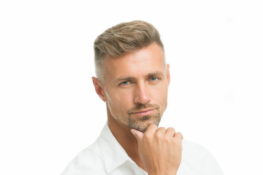 Thoughtful face expression. Grizzle hair suits him. Man handsome well groomed facial hair. Barber shop concept. Barber and hairdresser. Man mature good looking model. Silver hair shampoo. Male beauty