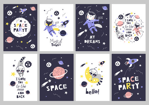 Cute cards with space animals. Can be use for typography posters, cards, flyers, banners, baby wears. Vector