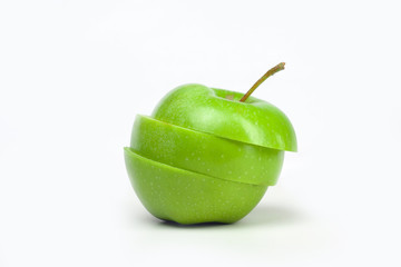 Green apple isolated on white background fruit