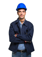 Site manager portrait. Isolated on white