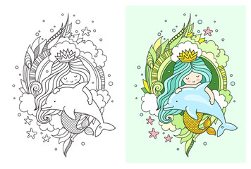 Little kawaii mermaid with dolphin. Cute cartoon characters. Print, postcard, poster, page for coloring book. Vector illustration.