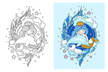 Princess mermaid, floating with dolphin. Cute cartoon character. Vector colored illustration for print, card, poster, t-shirt, coloring books and tattoo.