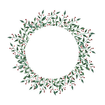 Watercolor circle frame with wildflower, herbs, leaf. collection garden, wild foliage, flowers, branches. illustration isolated on white background.Watercolor wreath with wildflower, herbs, leaf.