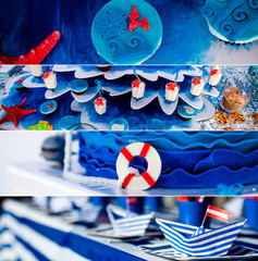 Sea and summer time theme for party or birthday. Collage of five pictures of sweets, cupcakes, pop cakes