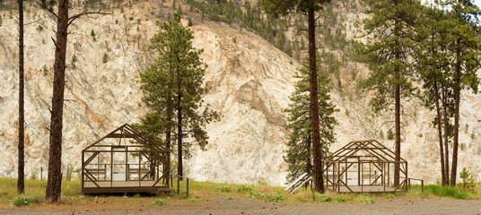 Canada, BC, Lytton.  Holiday camp  structures in the off season.  Thompson River Canyon