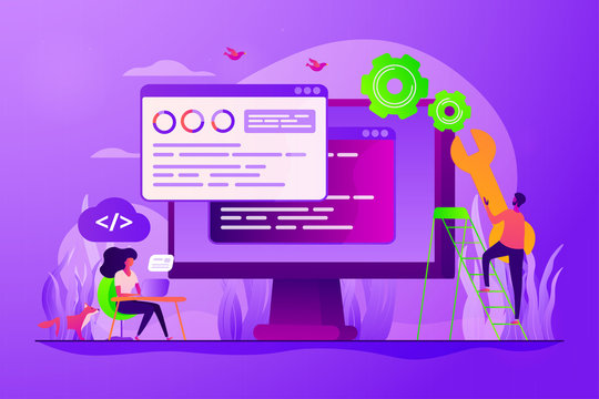 Programming and coding, website, webpage optimization. Back end development, software development process, backend app developer concept. Vector isolated concept creative illustration
