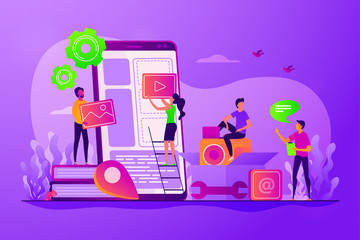 Smartphone software, UI interface construction. Mobile app development, mobile device application building, app development software concept. Vector isolated concept creative illustration