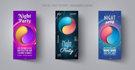 Flyer or poster design template for musical night party. Modern abstract background in the style of cut paper. Yin Yang sign. Banner layout for disco club,dance event,concert, show.Vector illustration