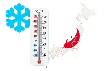 Extreme cold in Japan concept. 3D rendering