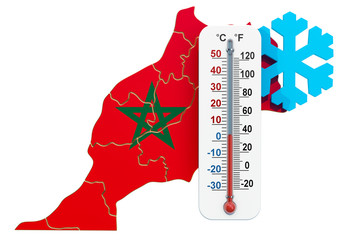 Extreme cold in Morocco concept. 3D rendering