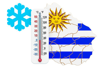 Extreme cold in Uruguay concept. 3D rendering