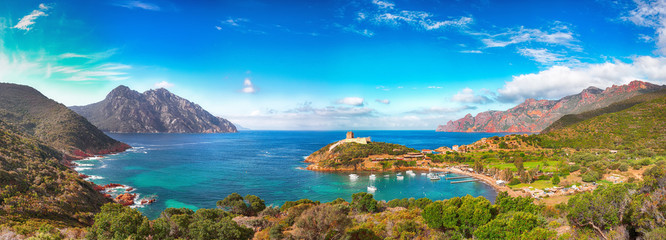 Canvas Prints Blue Girolata bay in natural reserve of Scandola