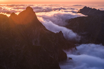 Mountains Landscape with Inversion in the Valley at Sunset as seen From Rysy Peak in High Tatras, Slovakia