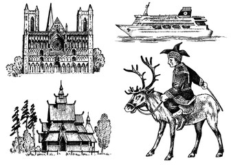 Norway culture. Set of national symbols. Norwegian Cathedral, wooden church, horseman in costume, ship for sea travel. Hand drawn engraved sketch in vintage style.