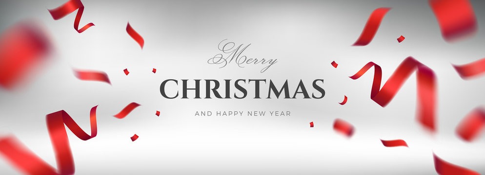 Merry Christmas vector design. White background with flying red silk ribbon and congratulations text. Elegant festive decoration, long panoramic gift card or wide web banner layout template