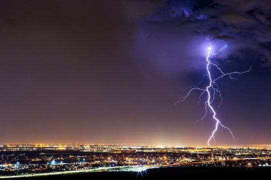 Lightning bolt from a thunderstorm over El Paso, Texas