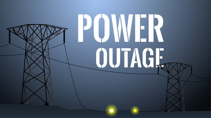 Power outage illustration. Blackout concept. High voltage towers with damaged wire between. Dark background with big white lettering