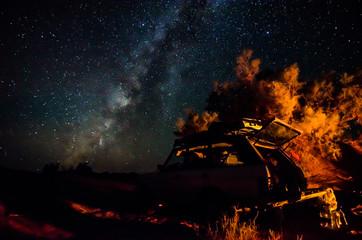 Night sky in moroccan desert Erg Chegaga