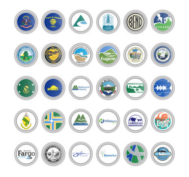 Set of vector icons. Flags and seals of North Dakota and Oregon states, USA. 3D illustration.