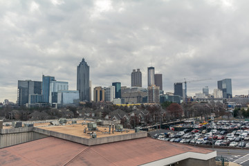 Wall Mural - Downtown Atlanta Skyline showing several prominent buildings and hotels