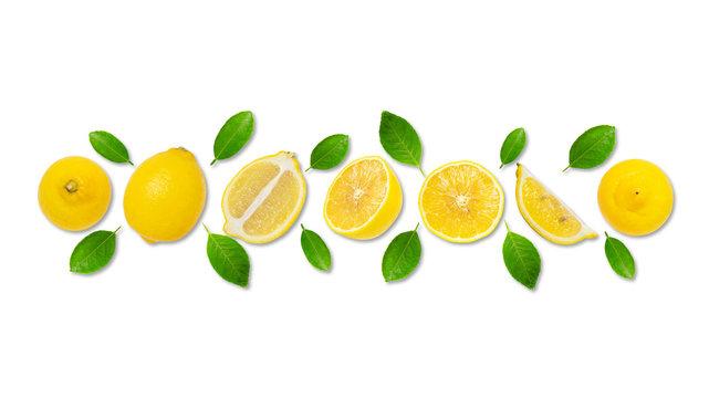 Minimal style creative layout made of lemon and leaves , half of lemon , slide, piece. flat lay. Fruit concept.