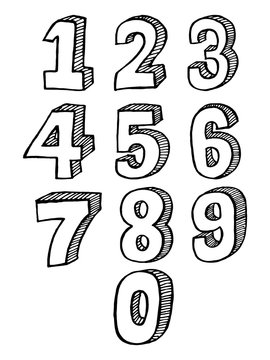 Hand-drawn 3D numbers. the doodle numbers for children's themes