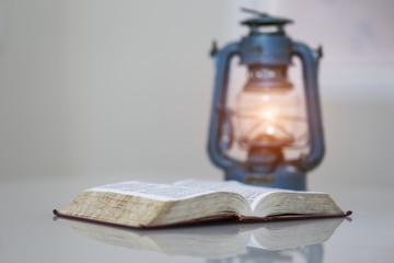 Open bible on desk,book